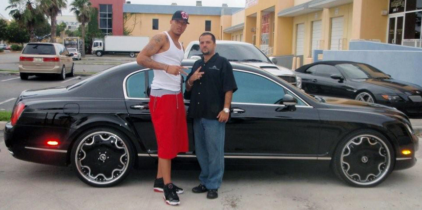 Michael Beasley and his Bentley Flying Spur